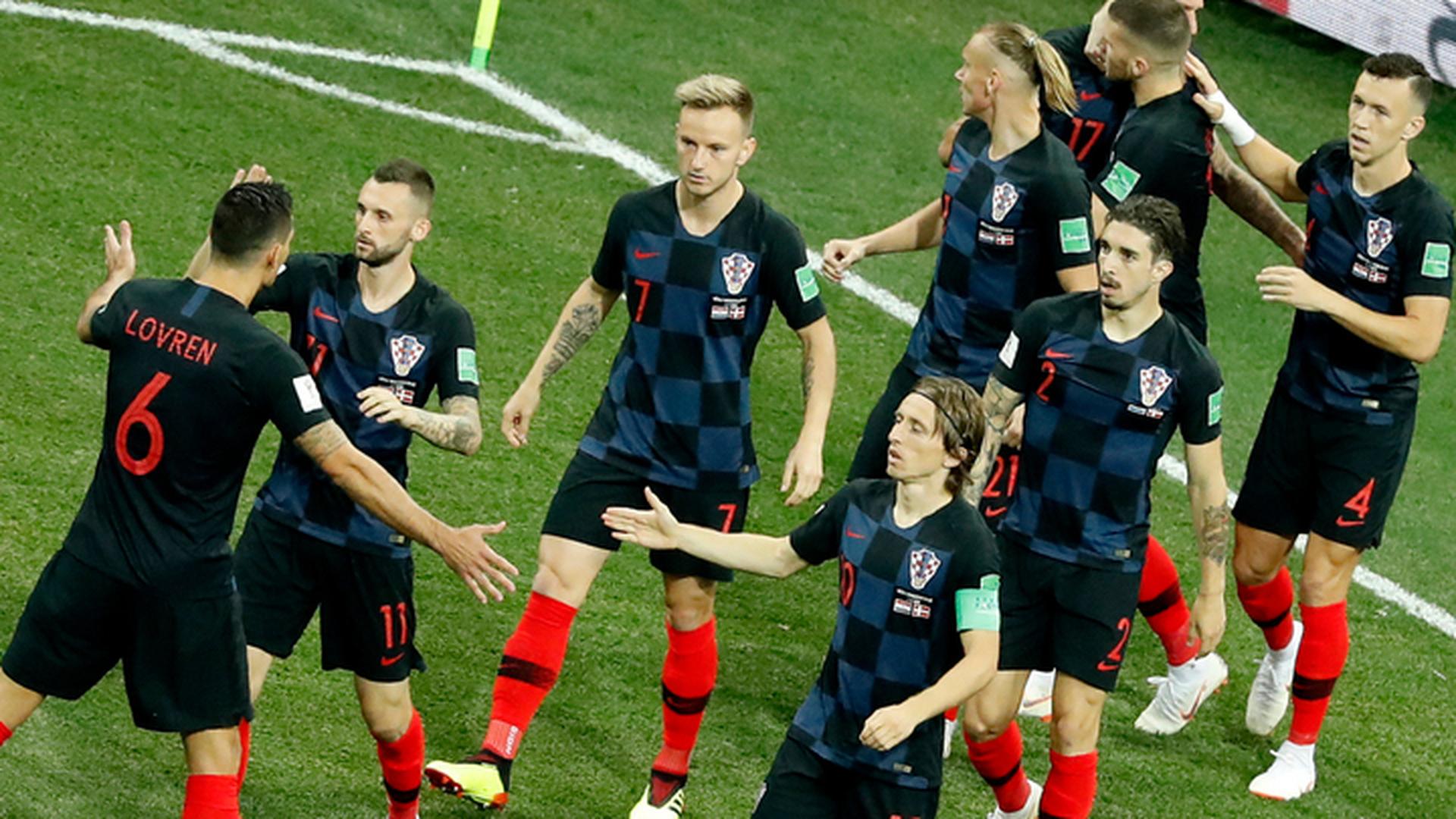 Игроки сборной Хорватии в гостевой форме 2018г.